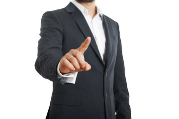 businessman pushing forefinger