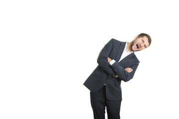 emotional businessman screaming