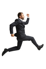 laughing businessman running