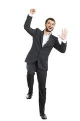 man waving his hand