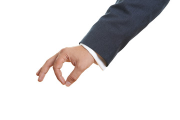 mans hand on white background
