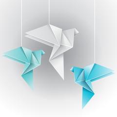 Origami different color dove