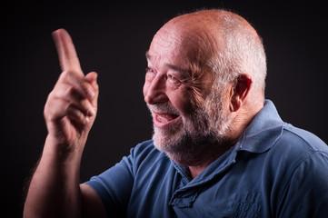 old man waving his hand