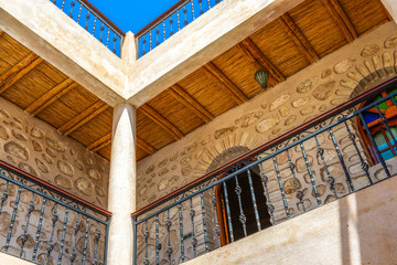 Low angle view of beautiful traditional balcony