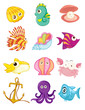 cartoon set of sea animals