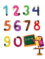 cartoon owl teaching numbers mathematics