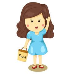 cute girl holding sale bag