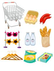 set of supermarket groceries