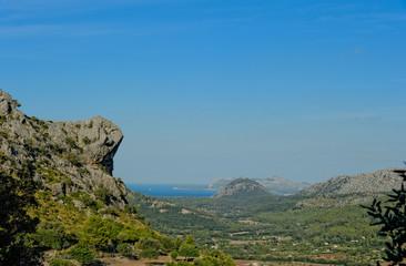 Mallorca, Blick aus den Bergen auf die Badia de Pollenca