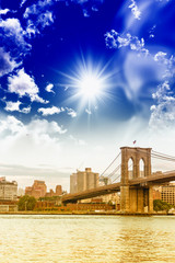 Brooklyn Bridge with beautiful sky