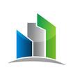 Modern buildings real estate card design logo vector icon