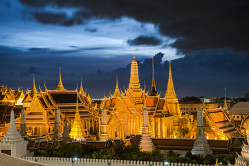 Wat Phra Kaew, Temple of the Emerald Buddha,Grand palace at twil