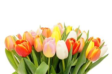 Beautiful bouquet of fresh orange tulips