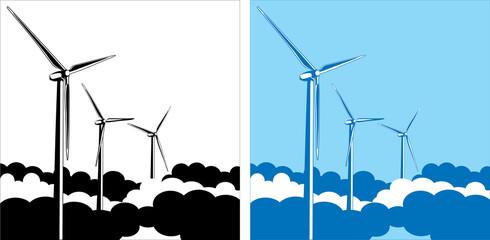 wind turbines in the clouds