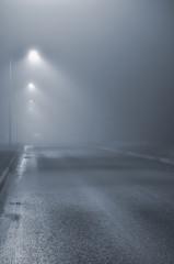 Street lights, foggy misty night, lamp post lanterns, deserted