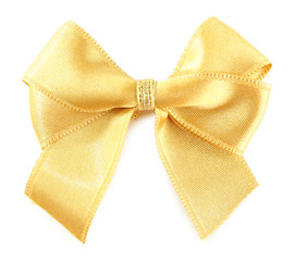 Yellow silk bow isolated on white