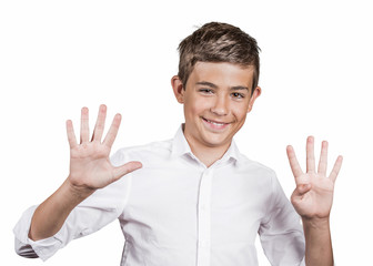 Teenager showing two hands, palms, fingers, making number nine