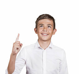 Boy looking, pointing up has idea, solution, white background