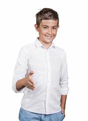 Smiling man giving extending arm for handshake, on white