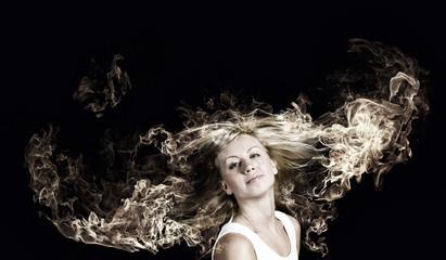 Blond in fire