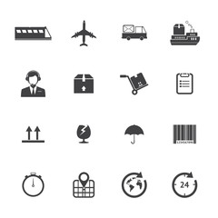 Black and White Logistics icons