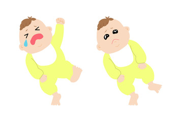 A set of baby images in his/her tantrum