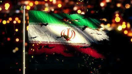 Iran Flag Torn Burned War Freedom Loop Animation