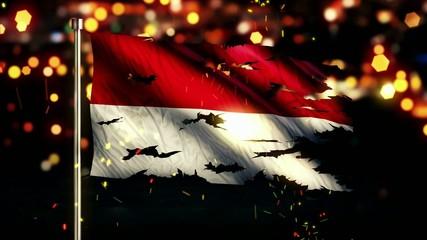 Indonesia Monaco Flag Torn Burned War Freedom Loop Animation