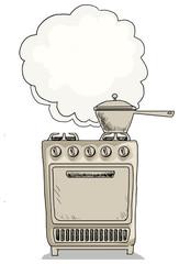 Old vintage cooker, with boiling pot