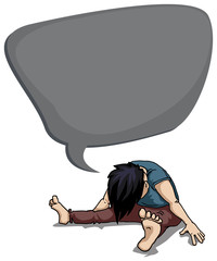 Depressed, young person in despair, with speech bubble