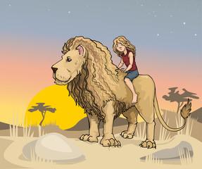 Cute girl riding a huge Lion king