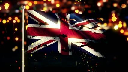 England UK Flag Torn Burned War Freedom Loop Animation