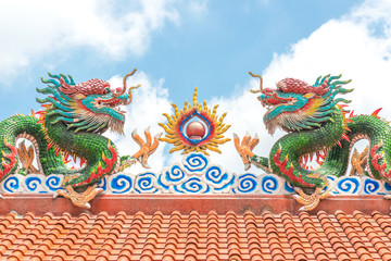 The golden China dragon,Chinese temple in Thailand.