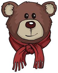 Teddy bear portrait, with warm red scarf
