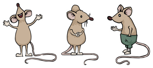 Set of three different mice, rats