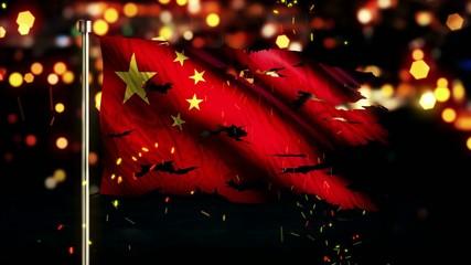 China Flag Torn Burned War Freedom Loop Animation