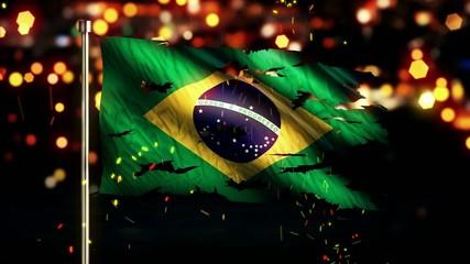 Brazil Flag Torn Burned War Freedom Loop Animation