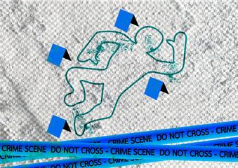 Crime scene danger tapes illustration on wall texture background