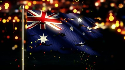 Australia Flag Torn Burned War Freedom Loop Animation