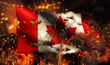 Canada Burning Fire Flag War Conflict Night 3D