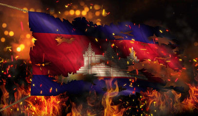 Cambodia Burning Fire Flag War Conflict Night 3D