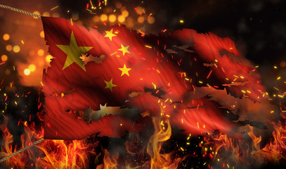 China Burning Fire Flag War Conflict Night 3D