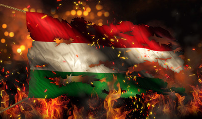 Hungary Burning Fire Flag War Conflict Night 3D