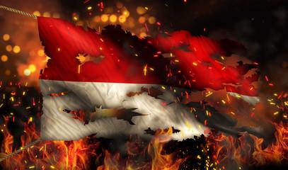 Indonesia Monaco Burning Fire Flag War Conflict Night 3D