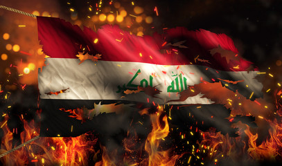 Iraq Burning Fire Flag War Conflict Night 3D