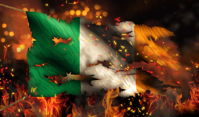 Ireland Burning Fire Flag War Conflict Night 3D