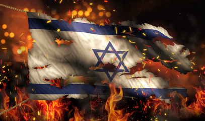 Israel Burning Fire Flag War Conflict Night 3D