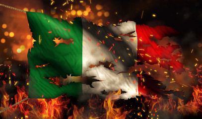 Italy Burning Fire Flag War Conflict Night 3D