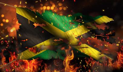 Jamaica Burning Fire Flag War Conflict Night 3D
