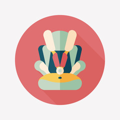 Baby car seat flat icon with long shadow,eps10